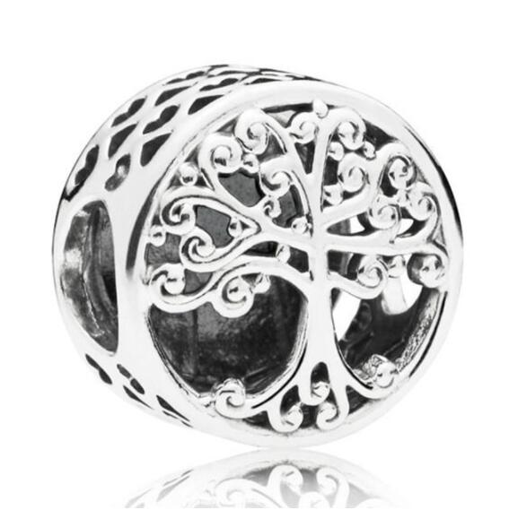 New 925 Sterling Silver Bead Charm Openwork Family Tree Roots With Blooming Branches Beads Fit Pandora Bracelet Diy Jewelry