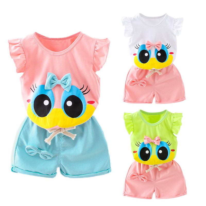 3 Colors Summer Stylish Baby Girls Clothes Set Infant Kids Cartoon T-shirt+Pants Two-piece Newborn New-arrival Fashion Suits sodawn baby girl clothes fashion cartoon girls summer set clothes baby suits kids t shirt pants children clothing set