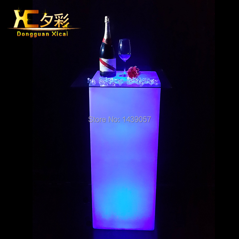 High Plastic LED Bar Table Color Changing Cocktail Coffee Tables For Club Ceremony Wedding Party Grand Opening led luminous bar table plastic color changing coffee dining room garden drinking tables