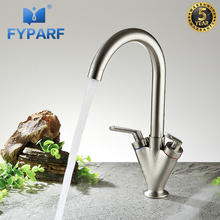 FYPARF Kitchen Faucet Cold and Hot Water Tap Deck Mounted Sink Crane Swivel 360 Degree Nickel Brushed Copper Kitchen Mixer Tap luxury brushed nickel swivel spout kitchen faucet vanity sink mixer tap deck mounted hot and cold mixer tap
