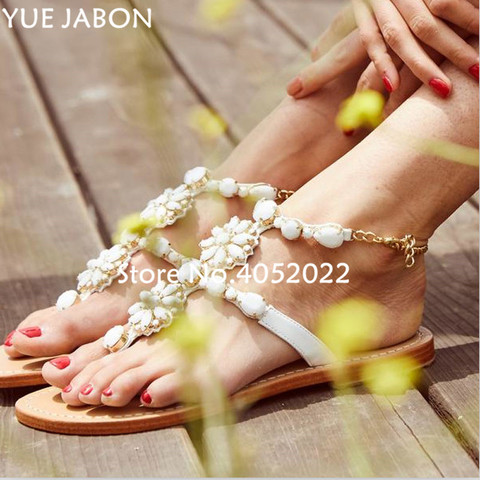women shoes Women sandals comfort flat sandals Rhinestones summer fashion beach sandals Gladiator Flat Sandals Plus Size Pakistan