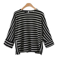 Europe And America Women S Clothing Spring Crew Neck Three Quarter Sleeve Stripe T Shirt Slim
