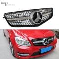 Mercedes W204 Diamonds Grill For Benz C Class W204 2007- 2014 C300 C180 C200 C260 Black / Silver Mercedes Front Grille