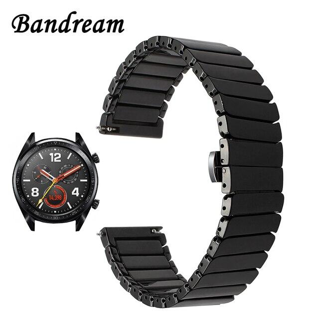 Полный керамический ремешок для часов + инструмент для huawei Watch GT быстроразъемный ремешок из нержавеющей стали ремешок с застежкой-бабочкой ...
