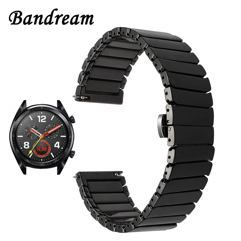 Full Ceramic Watchband +Tool for Huawei Watch GT Quick Release Band Stainless Steel Butterfly Clasp Strap Wrist Bracelet Black genuine leather watchband for suunto 3 fitness smart watch band quick release strap stainless steel clasp wrist bracelet