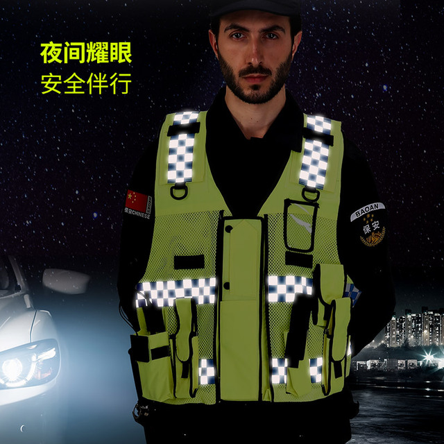 Reflective vest Traffic warning Road Administration fluorescent clothing vest vehicle Security Patrol Safety Protective Coat 4