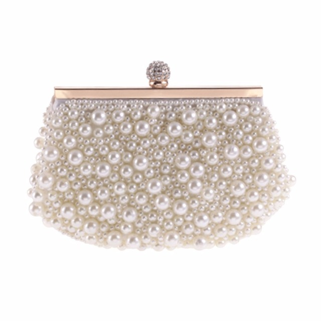 Luxury Design Women Evening Bag Elegant Pearl Beaded Female Wedding Bridal  Handbag Clutch Crossbody Bag Party