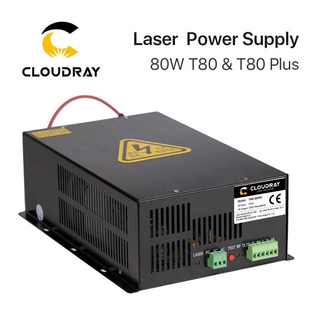 Cloudray 80 W CO2 Alimentation Laser Source pour CO2 Laser Gravure Machine De Découpe HY-T80 T/W Plus Série longue Garantie