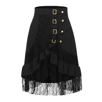 Women's Steampunk Clothing Party Club Wear Punk Gothic Retro Black Lace Skirt black fashion 2019 jupe femme black 1