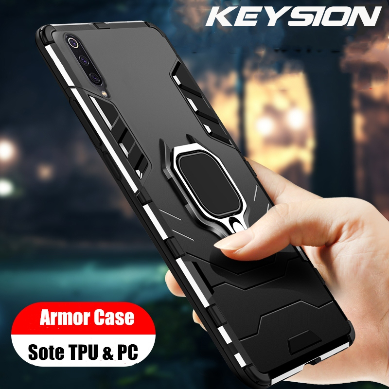 KEYSION Shockproof Armor Case For Samsung Galaxy A50 A30 A20 Stand Holder Car Ring Phone Cover for Samsung Galaxy A7 2018 M20(China)