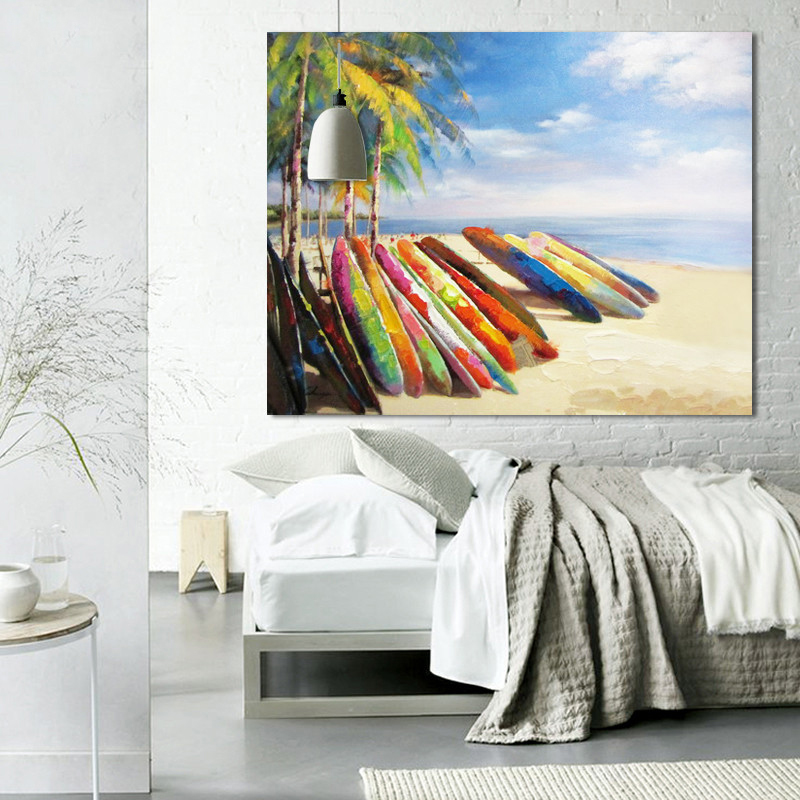 Hot Sale Decorative Poster Beach Scene pintura Canvas Sand Hawaii Vavation Oil Painting Palm Trees Big Size For Home Decor
