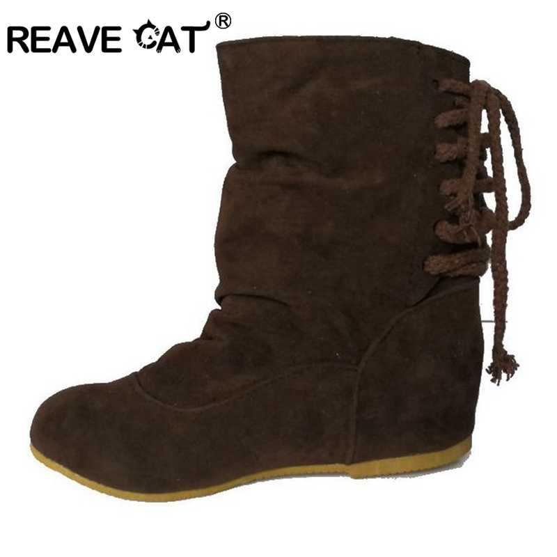 REAVE CAT Marka Bahar Sonbahar Akın Pamuklu Kumaş Yüksekliği Artan Şeritler Yuvarlak ayak Kahverengi Moda kadın ayakkabısı kadın botları