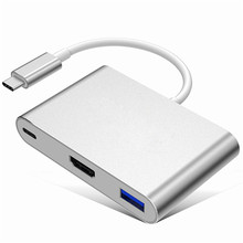 Tipo C LEORY Mejor Calidad USB 3.1 a 4 K HDMI convertidor Adaptador 3 en 1 HDMI HUB de Carga para MacBook 12