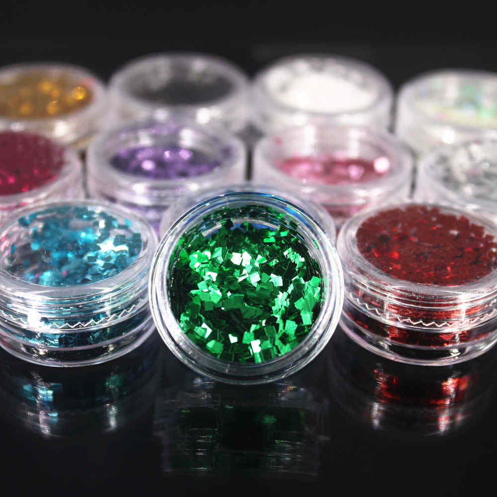(1 Pcs/Verkopen) decoratie Vierkante Nail/Body/Eye Glitter Poeder Pailetten Shining DIY Nail Art Vrouwen Superfijne Decoraties Mode