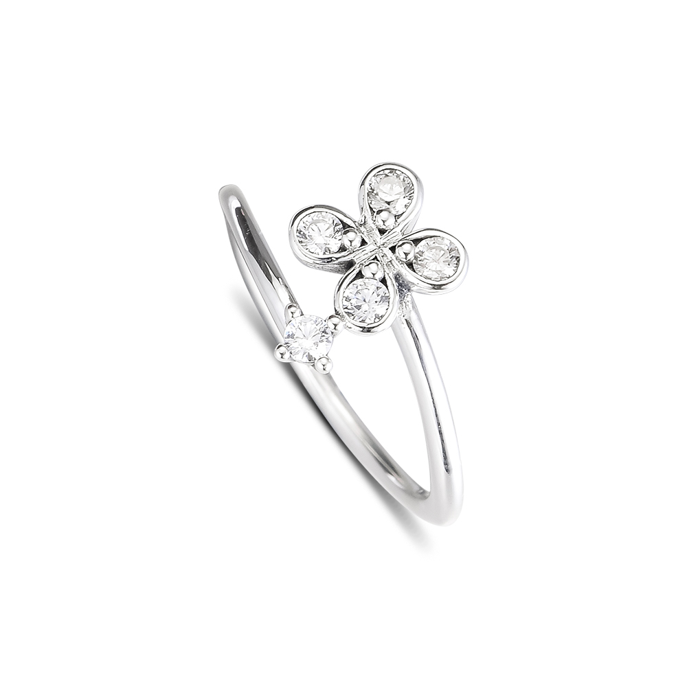 CKK Silver 925 Jewelry Four-Petal Flower Rings For Women Fashion Making Anniversary Gift Sterling Silver Original RingCKK Silver 925 Jewelry Four-Petal Flower Rings For Women Fashion Making Anniversary Gift Sterling Silver Original Ring
