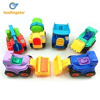 LeadingStar 12Pcs Inertial Engineering Vehicle Toys Crane Mixer Truck Excavator Dumper Steamroller Cartoon Model Toy Zk40