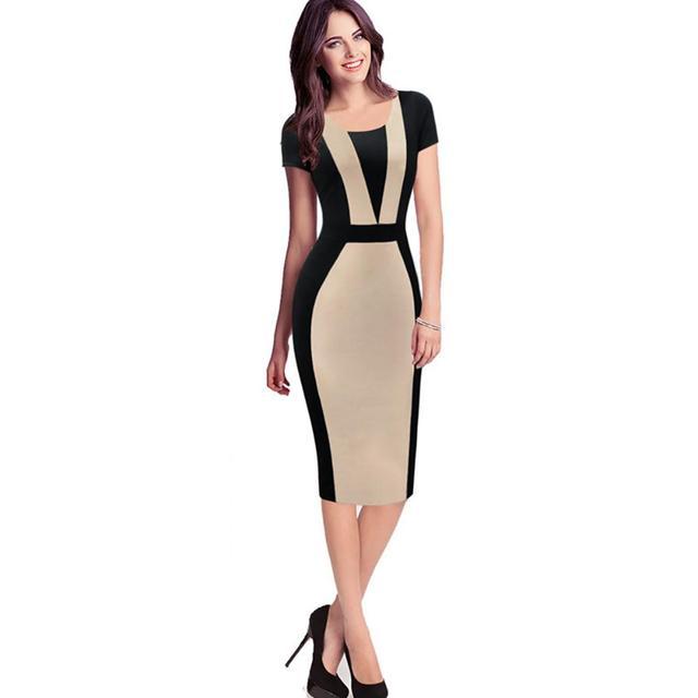 Cool Elegant O-Neck Short Sleeves Dress