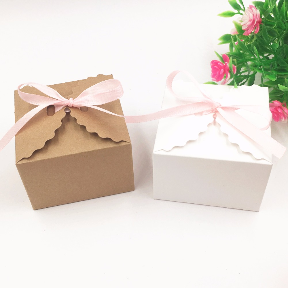 30pcs/lot Kraft Paper Square Candy Box Rustic Wedding Favors Candy ...