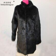 Linhaoshengyue реальный кроличий мех платье длинный воротник с длинными рукавами