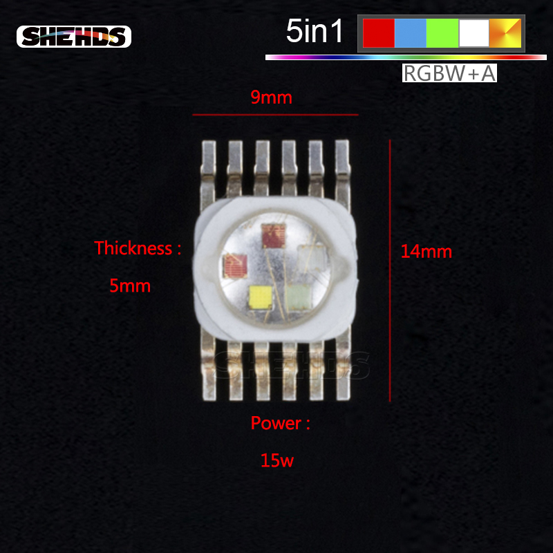 LED RGBWA 5in1 For LED RGBWA Lighting LED Chips Red/Green/Bule/White/Abmer Fast Shipping SHEHDS
