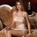 2017 Verão Sexy Strap 100% Camisola De Seda Pura para As Mulheres Pijamas Nightgowns Sleepshirts Pijamas de Seda Terno De Seda Natural