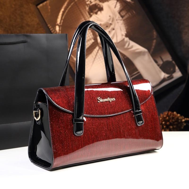 Sacs à main de luxe femmes sacs designer en cuir verni sac à bandoulière dames bureau travail sac à main rouge mariage fourre-tout boston pochette