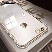 USLION Shockproof Clear Case For iPhone X 8 7 6 6s Plus 5 5s SE Chic Transparent Soft TPU Protection Phone Cases Back Cover Capa