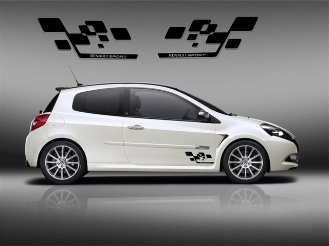 for 2pcs set renault clio megane twingo sport cup rs stickers decals graphics r27 trophy 197 in. Black Bedroom Furniture Sets. Home Design Ideas