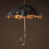 Retro creative umbrella wind industrial loft wrought iron cafe bar restaurant pendant lights personality Art pendant lamp