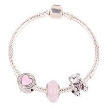 6709355f5c43 AIFEILI Rosa abalorios oso lindo estilo de niña regalos de los niños de alta  calidad DIY conveniente para las mujeres Pulseras d.