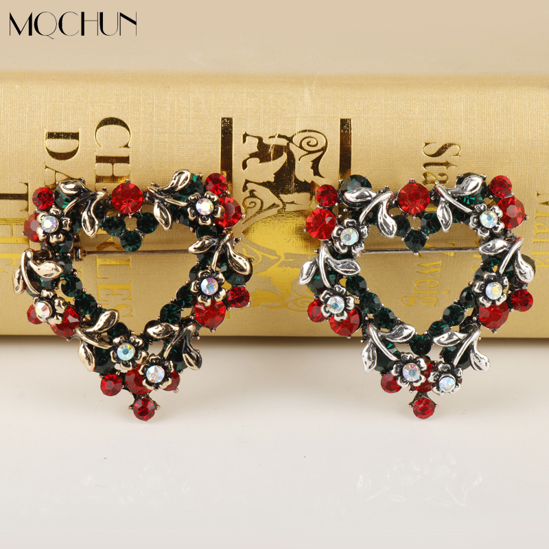 MQCHUN Accessories Brooches Bouquet for Women Jewelry Heart Rhinestones Brooch Pins for Shirt/Dress Trendy Christmas Gifts