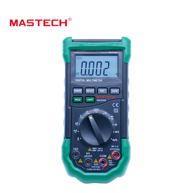 MASTECH MS8268 Auto Range Digital Multimeter hFE AC DC current voltage meter 4000 counts capacitance diode +Frequency tester mastech ms8260f 4000 counts auto range megohmmeter dmm frequency capacitor w ncv
