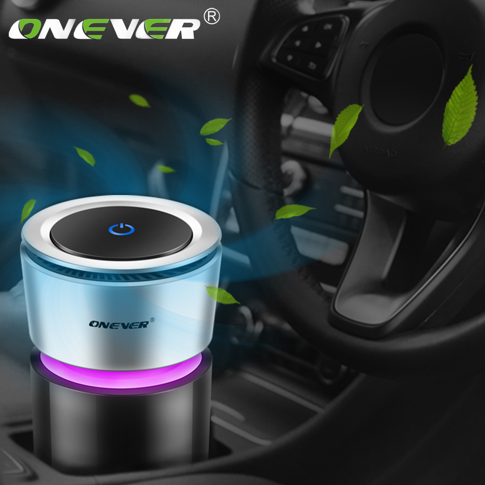 Onever Car Air Purifier 12V Negative Ions Air Cleaner Ionizer Air Freshener Auto Mist Maker Pm2.5 Eliminator Cup Car Charger
