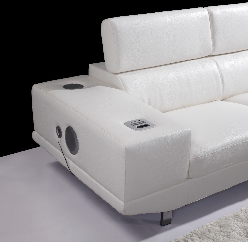 Europe Style Living Room Sofa Couches Elegant And Rational Leather Sofa Sectional With Sound System Shipping To Your Port