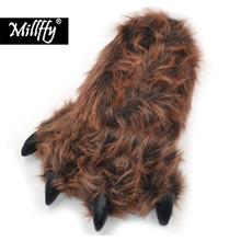 Millffy śmieszne kapcie niedźwiedź grizzly wypchane zwierzę pazur łapa kapcie maluchy kostium obuwie tanie tanio Futro Mieszkanie z Zima Fabric Kryty Runa Faux Futra MP9080 Mieszkanie (≤1cm) Pasuje prawda na wymiar weź swój normalny rozmiar