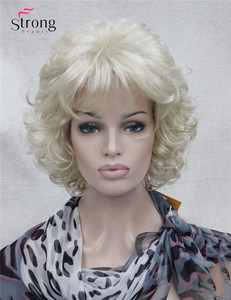 Image 2 - StrongBeauty Short Full Curly Synthetic Hair Wig For Women Platinum Blonde Color