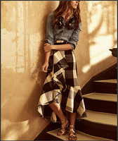 See Orange Cotton Shirt Plaid Long Skirt Western Cowgirls Two Piece Sets Autumn Women Suits SO4455