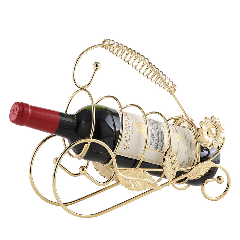 Single Bottle Holder Stand, Retro Style Wine Bottle Holder Metal Wire Wine Rack Home Decor