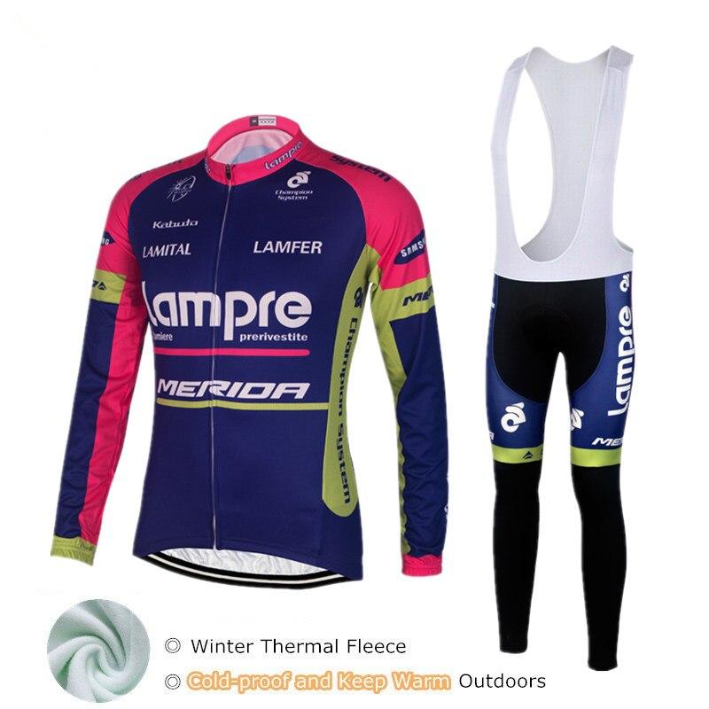цена на Lampre Merida Mens Cycling Jersey 2018 Pro Team Winter Bike Clothing Ropa Ciclismo Invierno Thermal Fleece Maillot Cycling Sets