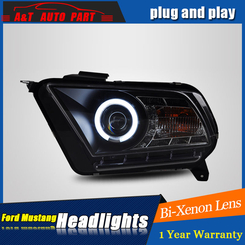 Auto part Style LED Head Lamp for Ford Mustang led headlights 10-12 for Mustang drl H7 hid Bi-Xenon Lens angel eye low beam