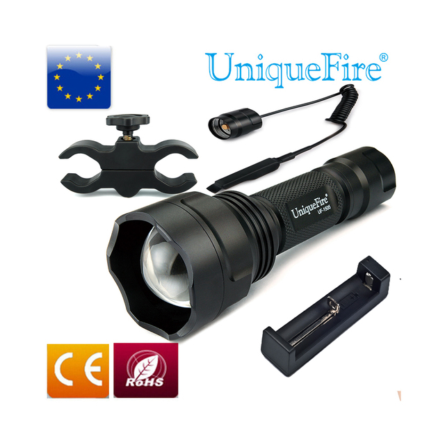 UniqueFire 1505 IR 850nm Mini KIT SET Flashlight Torch Flxible Flashlight 3 mode+Scope Mount+Tail Switch+Charger Hunting