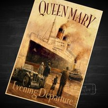 Queen Mary Evening Departure cruise ship Vintage Classic Retro Decorative Poster DIY Wall Canvas Stickers Posters Home Decor Gif(China)