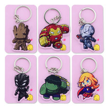 The Avengers Supergirl Pantera Negra Chaveiro Keychain Bonito Dupla Face Personalizar Anime Anel Chave PCB132-137(China)