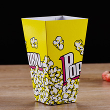 100 Pcs Disposable Popcorn Box Paper Cup birthday party wedding Cinema Market Square Barrel blue Custom