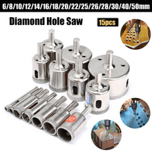 цена на 15PCS 6mm-50mm Diamond Coated Core Drill Bit Tile Marble Glass Ceramic Hole Saw