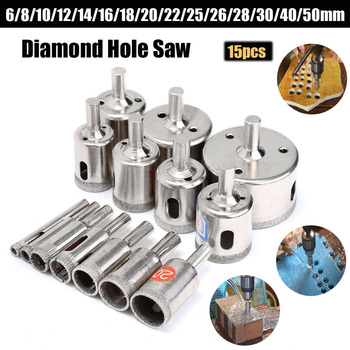 WENXING 15PCS 6mm-50mm Diamond Coated Core Drill Bit Glass Ceramic Hole Saw Tile Marble 6mm to 50mm diamond coated drill drills bit hole saw core marble glass granite tools 15pcs drilling power tool