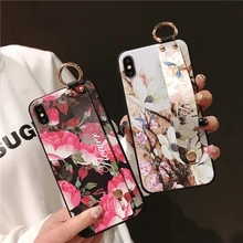IMIDO Fashion Wrist Strap Soft TPU Phone Case For iphone 6/7/8/X Flower Pattern Holder Cases Anti-fall Lanyard Loop Stand