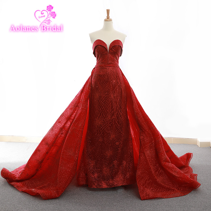 Bling Bling Long Red Prom Dresses 2018 Sheer Sweet Heart Neckline African Mermaid Prom Dress New Design Prom Gown With Train