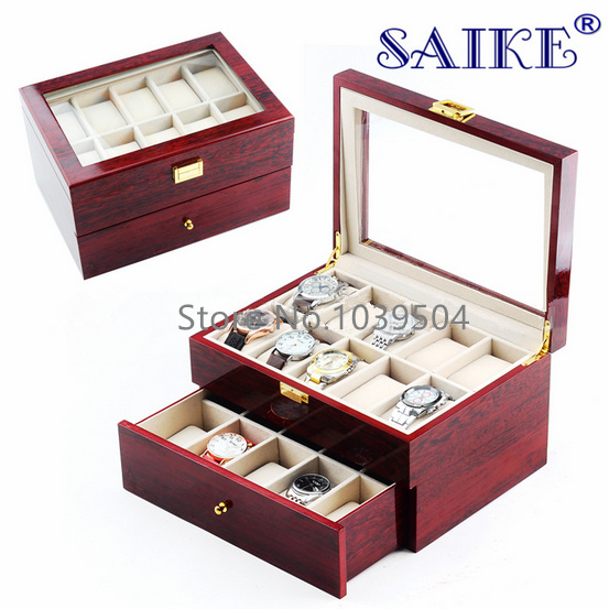 Free shipping 20 Slots Watch Display Box Red MDF Brand Watches Box Case Fashion 20 Grids Two Layers Watch Storage Gift Box M064 free shipping khaki 12 grids pu watch box brand watch display watch box watch storage boxes rectangle gold pillow gift box w029