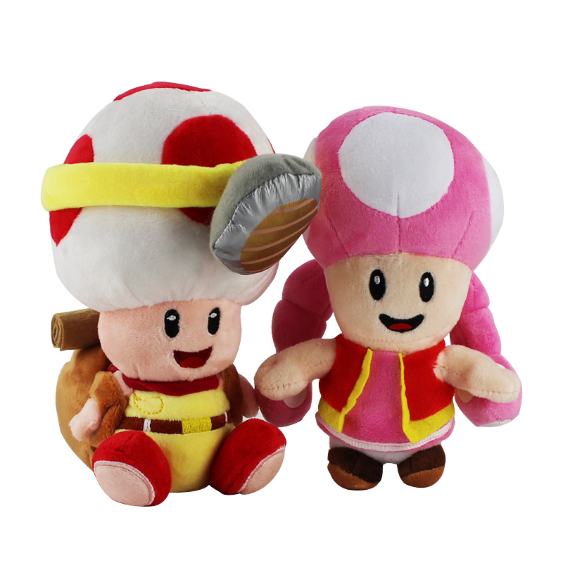Super Mario Mushroom Plush Toy Toad Toadette Soft Stuffed Doll